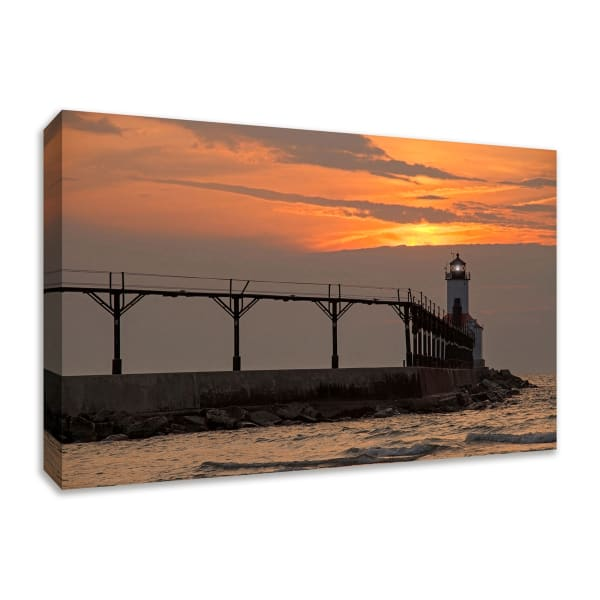 Fine Art Giclee Print on Gallery Wrap Canvas 30 In. x 20 In. Michigan City East Pierhead Multi Color