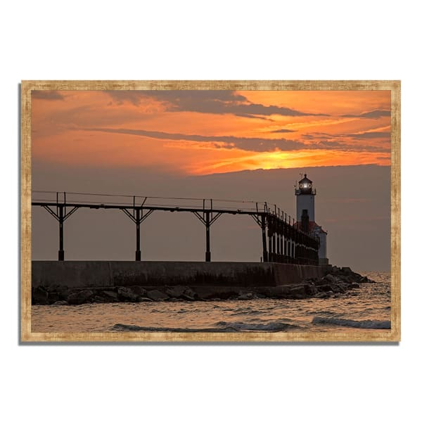 Framed Photograph Print 32 In. x 22 In. Michigan City East Pierhead Multi Color