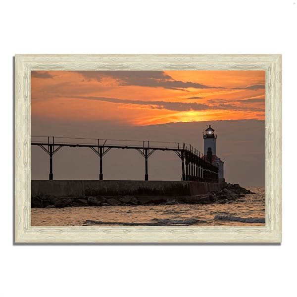 Framed Photograph Print 36 In. x 26 In. Michigan City East Pierhead Multi Color