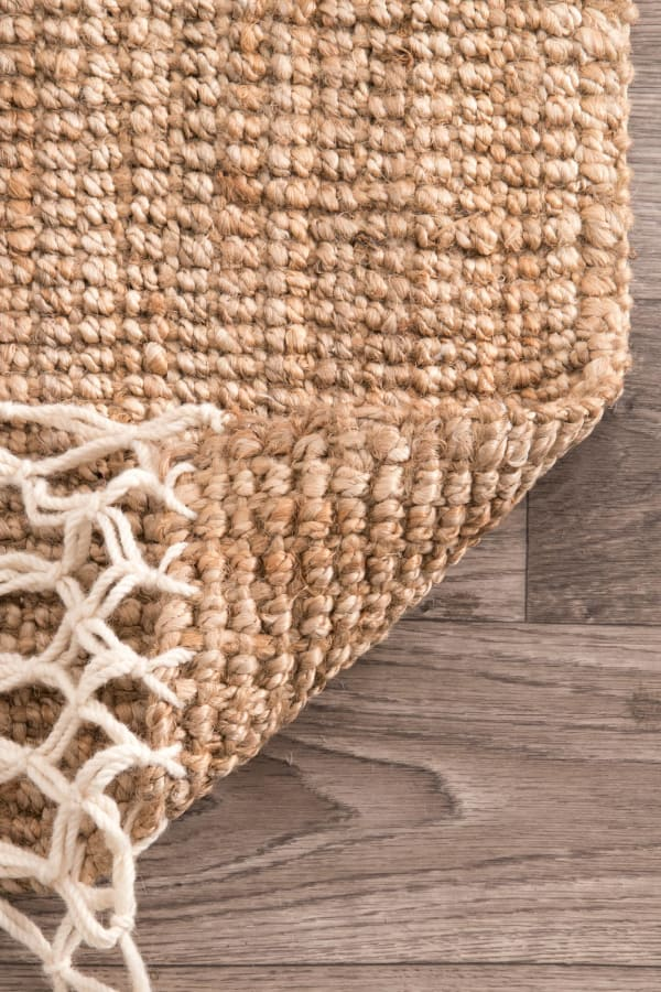 Hand Woven Raleigh 5x8 Natural Jute and Wool Rug