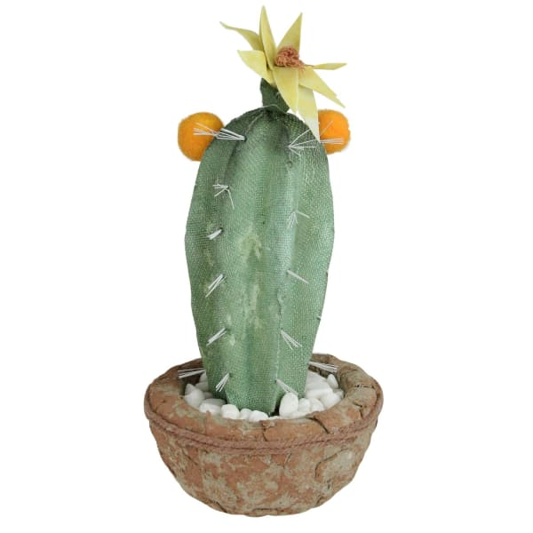 Green Potted Faux Cactus with Flowers in Southwestern Pot