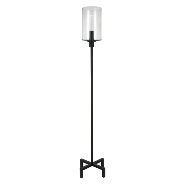 Panos Blackened Bronze Floor Lamp with Seeded Glass Shade