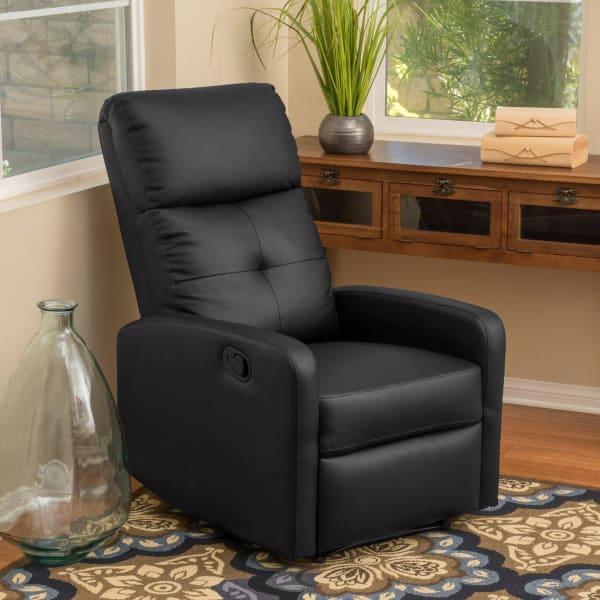 Black Polyurethane Leather Recliner