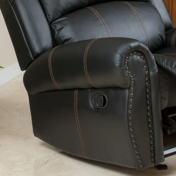 Black Faux Leather Gliding Recliner