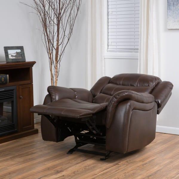 Dark Brown Faux Leather Glider Recliner