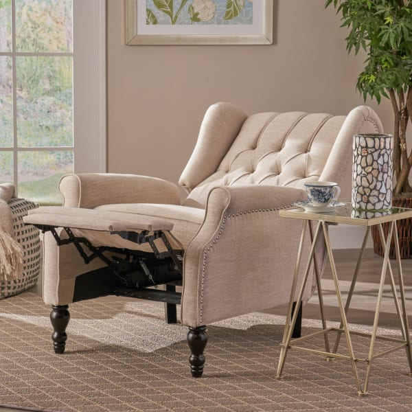 Light Beige Upholstered Recliner