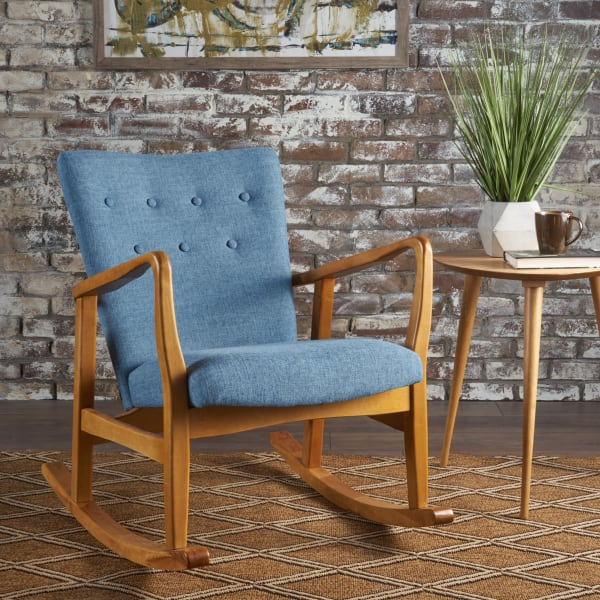 Mid Century Muted Blue Upholstered Rocker