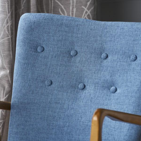 Mid Century Muted Blue Upholstered Rocker