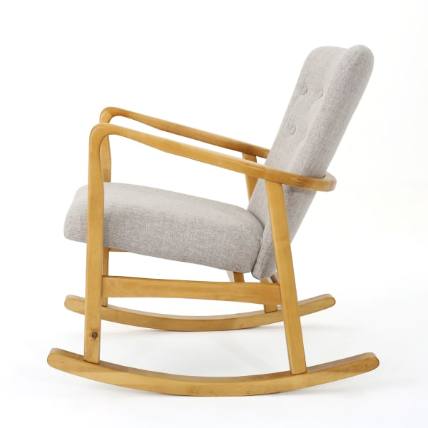 Mid-Century Wheat Upholstered Rocking Chair