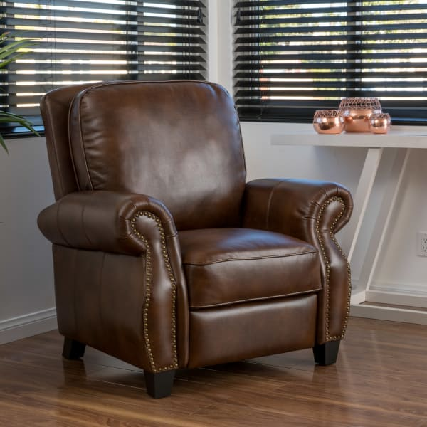 Brown Two Tone Polyurethane Leather Push Back Recliner