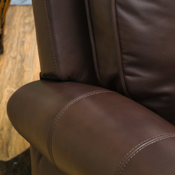 Brown Faux Leather Push Back Recliner