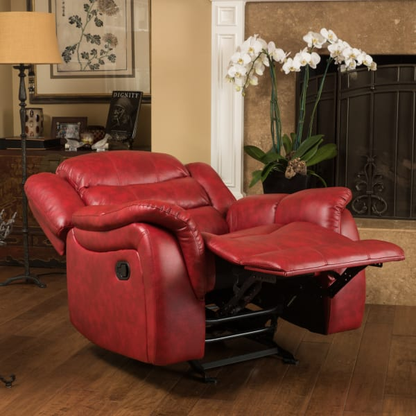 Red Faux Leather Gliding Recliner