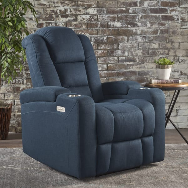 Navy Blue Power Recliner with Arm Storage & USB Cord