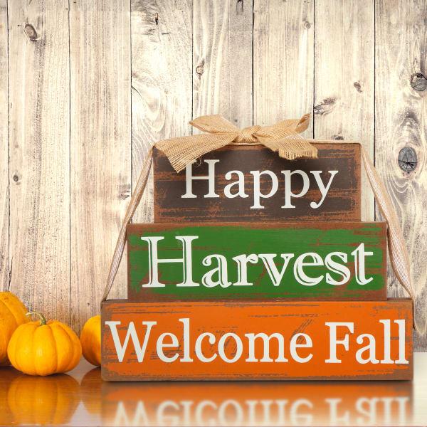 Happy Harvest Letter Block Table Decor