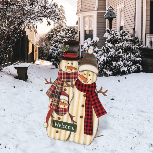 Snowman Family Yard Stake & Wall Decor