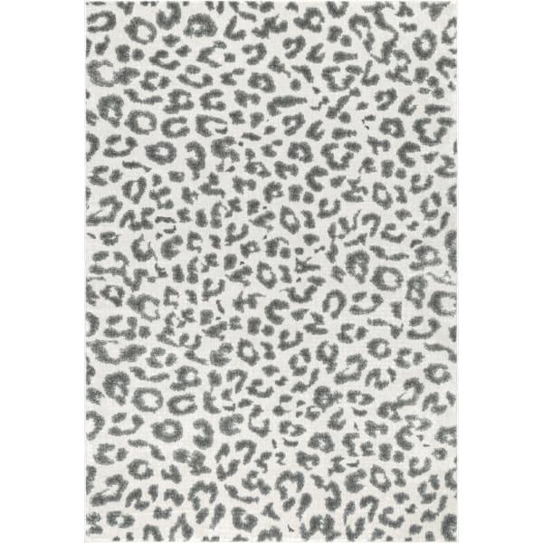 Leopard Print 8x10 Gray Rug