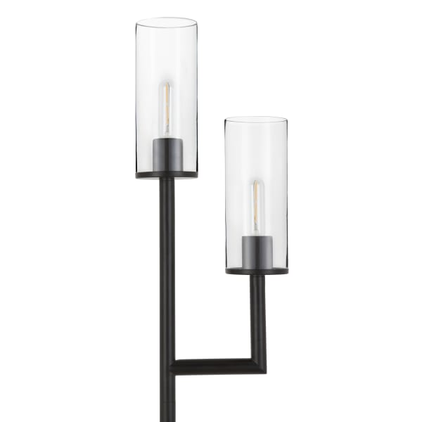 Basso Blackened Bronze 2-Light Torchiere Floor Lamp with Clear Glass Shades