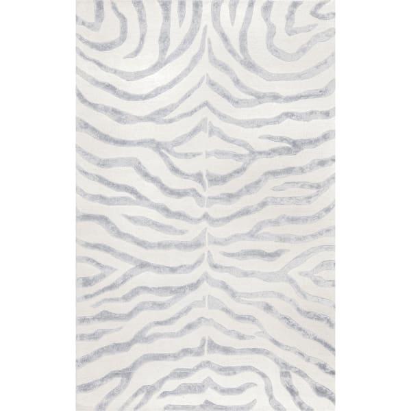 Hand Tufted Plush Zebra 8' x 10' Gray Viscose and Wool Rug