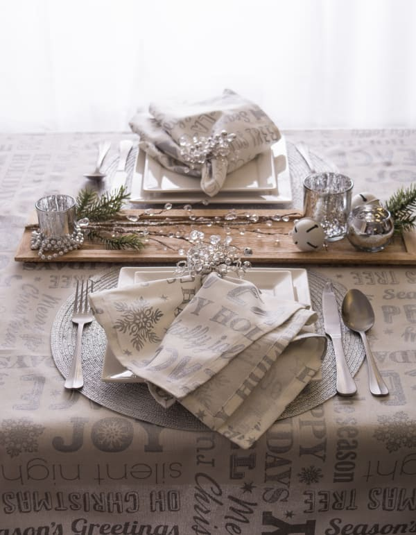 Christmas Wishes Silver Tablecloth