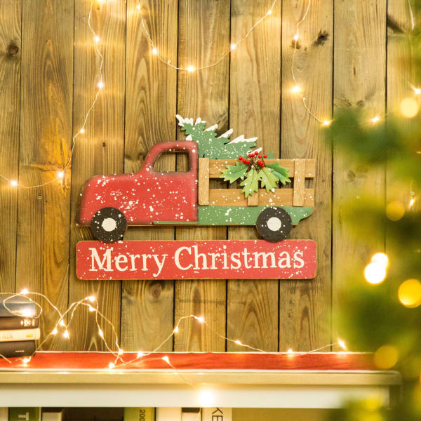 Christmas Metal & Wooden Truck Yard Stake or Wall Decor