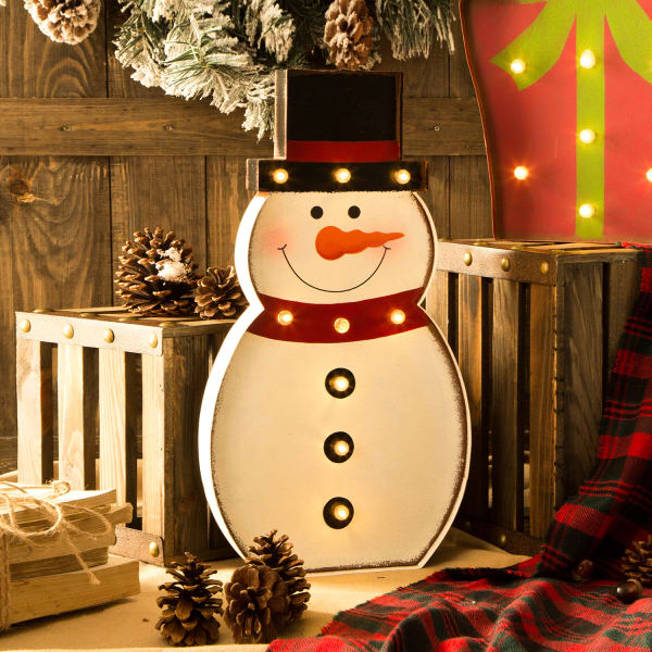 LED Light-Up Snowman Marquee Decor
