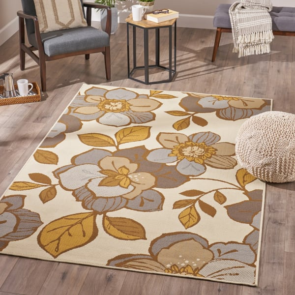 Floral Ivory & Gray Rug 5 x 8
