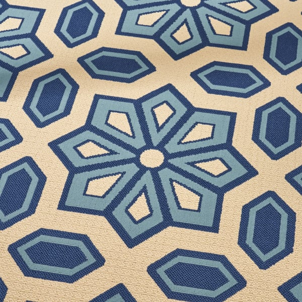 Geometric Ivory & Blue Rug 5'25