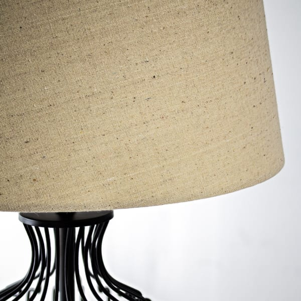 Black Cage Table Lamp with Drum Shade