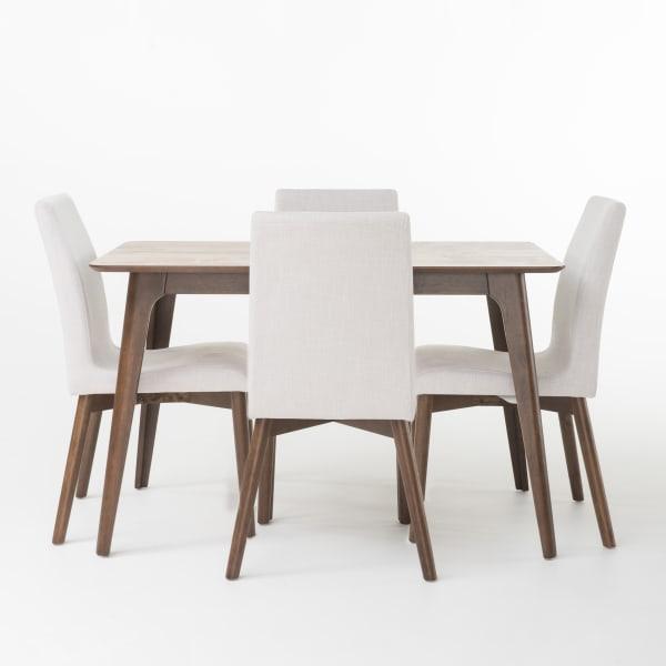 Light Gray & Walnut Rubberwood 5-Piece Dining Set