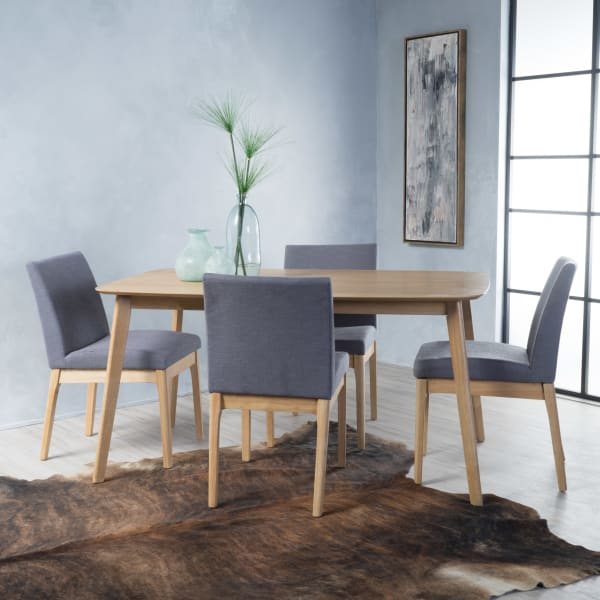 Oak & Dark Gray Rectangular 5-Piece Dining Set 60