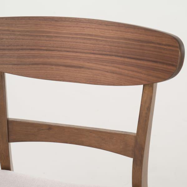 Walnut & Light Beige Curved Leg 5-Piece Dining Set