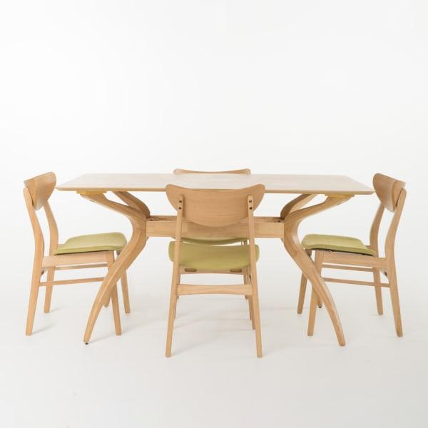 Oak & Green Tea Curved Leg Rectangular 5-Piece Dining Set