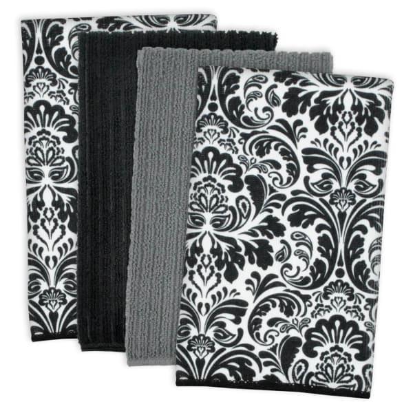 Damask Black Microfiber Dish Towel Set of 4