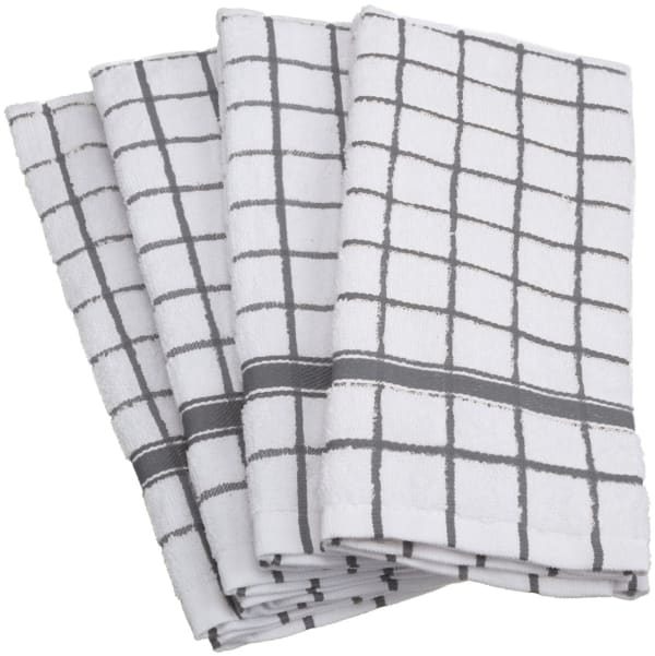 Gray Check Dish Towel Set of 4