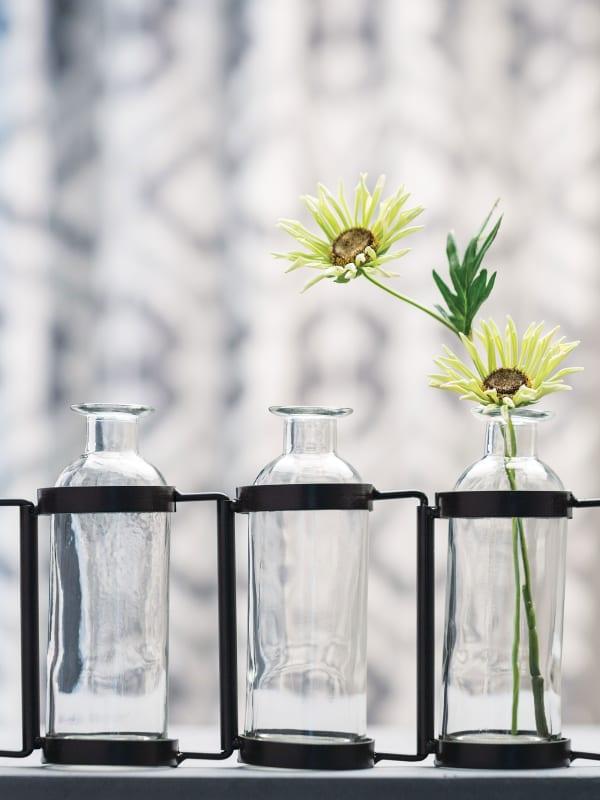 Glass & Metal Ten Bottle Vase