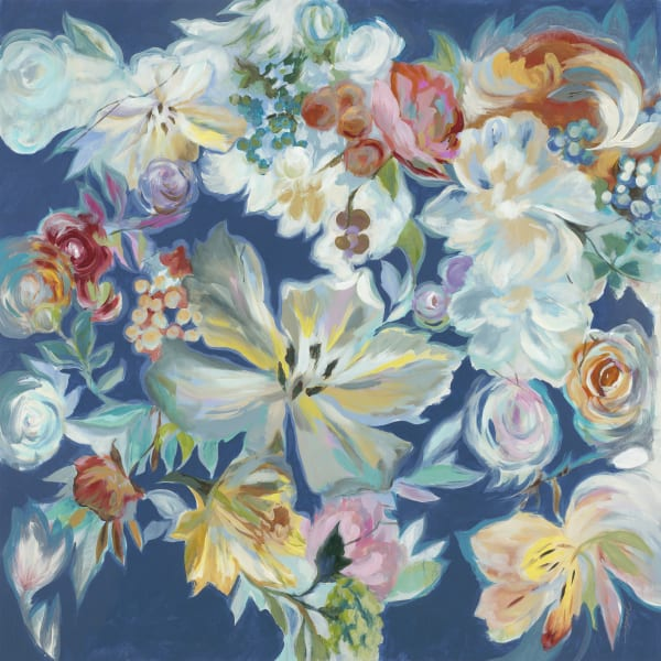Blue Floral Printed Canvas Wall Art with Hand Painting