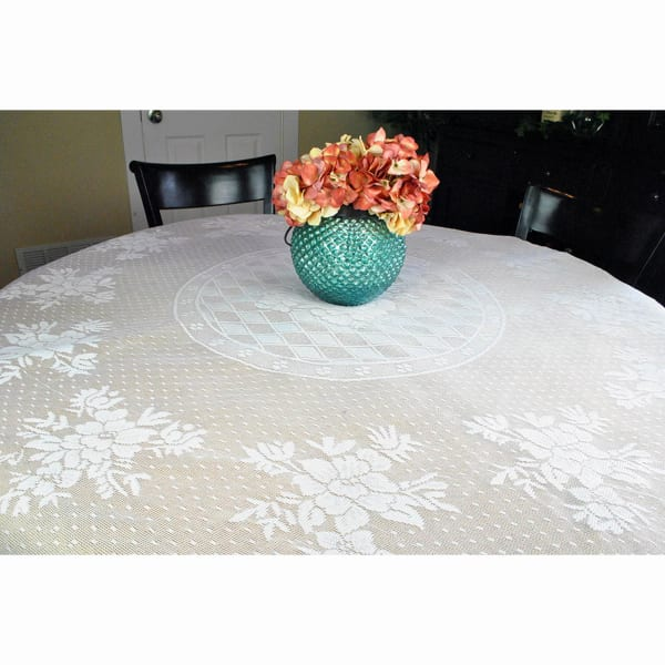 Blooming Fl White Lace 63 Round, Round Lace Table Toppers