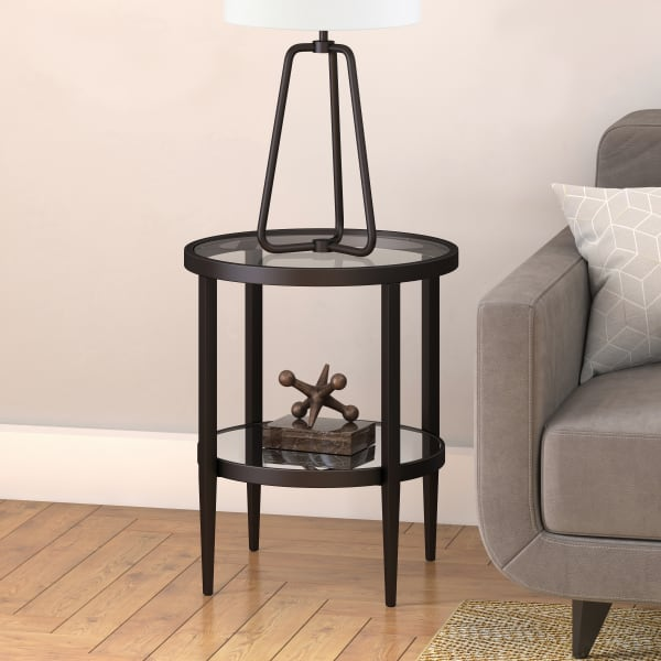 Hera Blackened Bronze Round Side Table