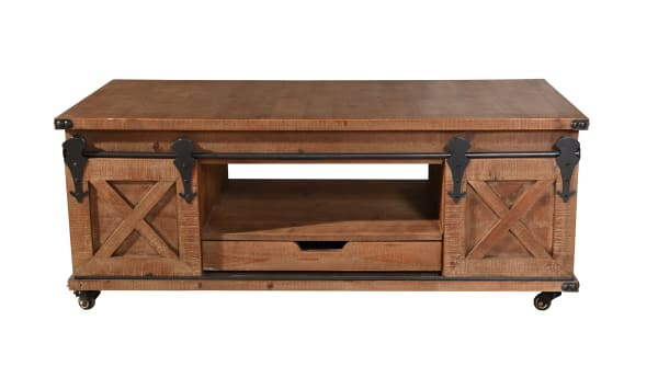 Natural Brown 2-Door Coffee Table