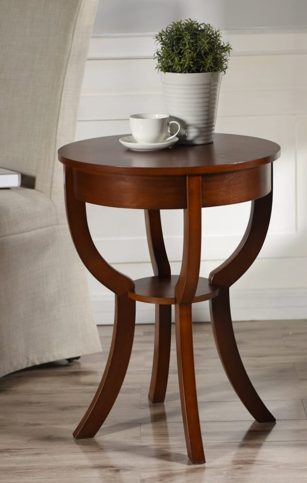 Traditional Dark Brown Accent Table
