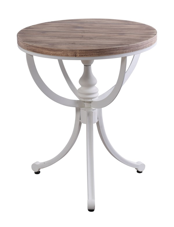 White Metal & Natural Wood End Table