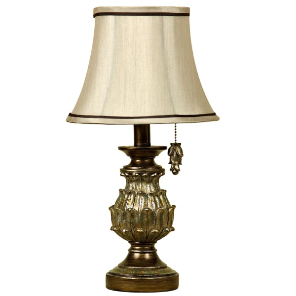 Antique Gold Table Lamp with Cream Fabric Shade
