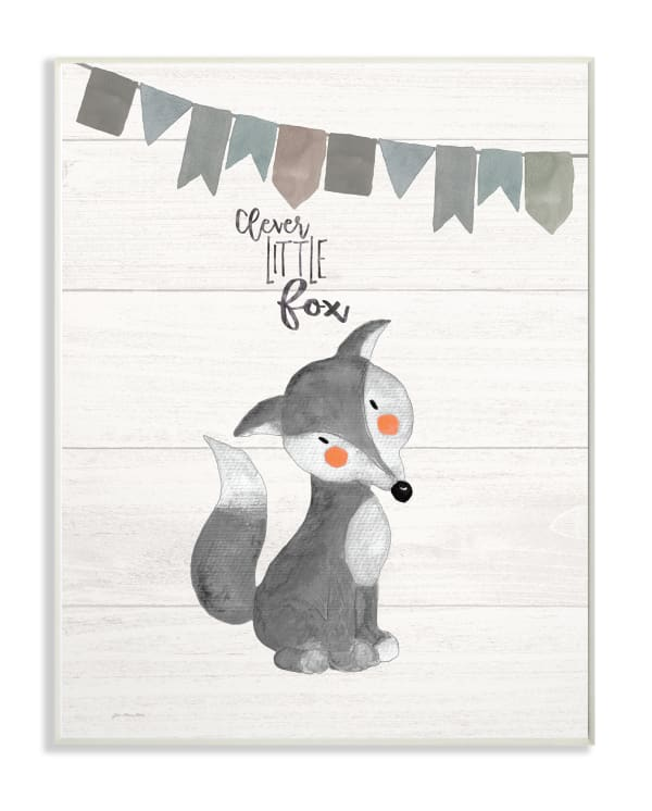 Grayscale Party Fox Wall Plaque Art