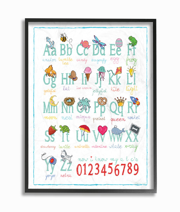 Alphabet Icons Framed Giclee Texturized Art
