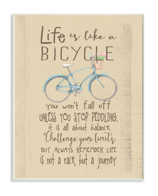 Bicycle Journey Wood Plaque Wall Art
