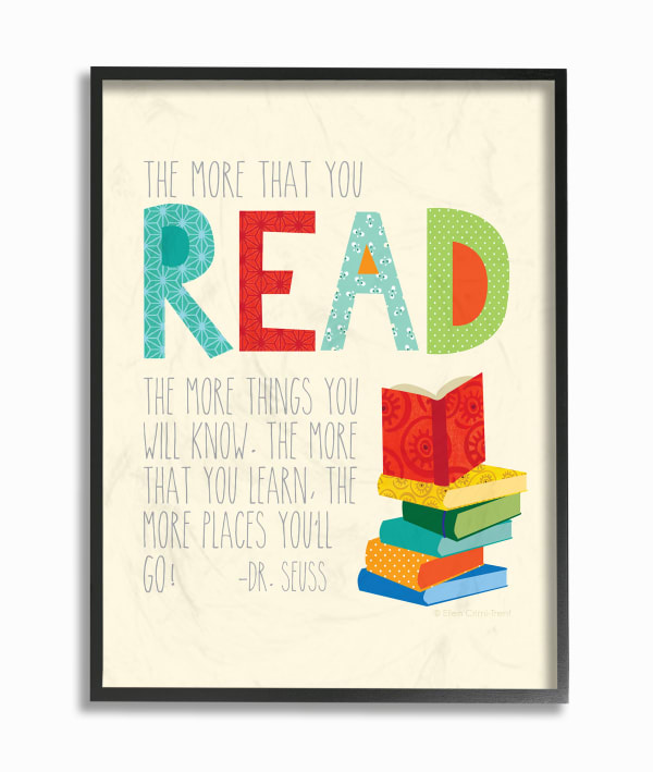 Reading Knowledge Framed Giclee Texturized Art