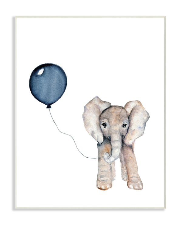 Blue Party Elephant Wood Plaque Wall Art