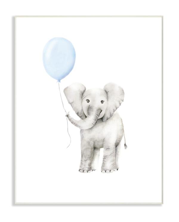 Watercolor Blue Party Elephant Wall Plaque Art