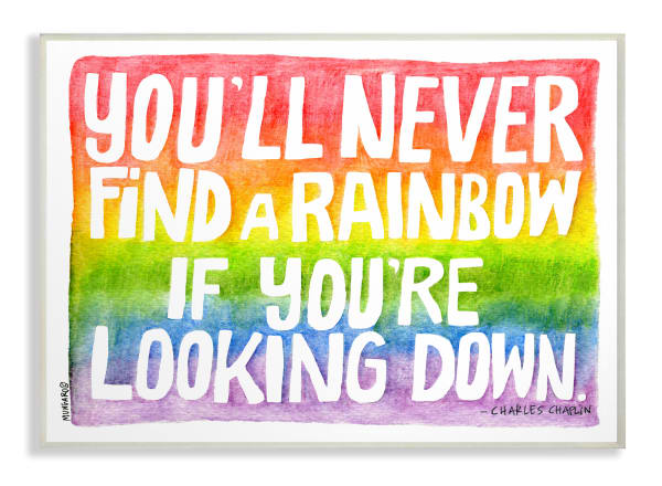 Seeking a Rainbow Watercolor Typography Wall Plaque Art