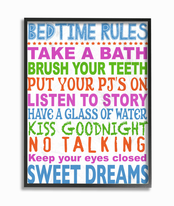 Rules for Sleepytime Rules Typography Framed Giclee Texturized Art